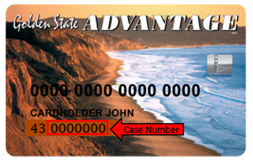 Image of an EBT card with the 7-digit case number highlighted.